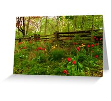 Dreamy Forest With Tulips - Impressions Of Spring Greeting Card