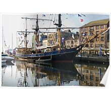 Tall Ship in Barbican Harbour Plymouth Poster
