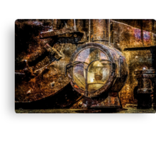 Headlight Of The Vintage Steam Train Canvas Print