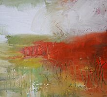 Red White Abstract Painting  by AndradaArt