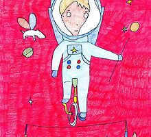 """Pink Dreamer"" print Astronaut  by GO-GOOGOO"