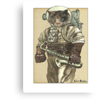 Space Cat with Saxophone Canvas Print