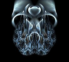Blue Flame Skull by owlspook