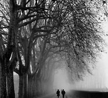 Strollers in the Fog - Lucca by Jon Julian