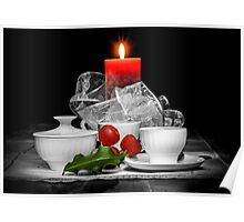 Christmas still life composition on a black background Poster