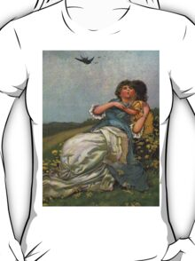 Mother And Child Vintage Art-Available As Art Prints-Mugs,Cases,Duvets,T Shirts,Stickers,etc T-Shirt