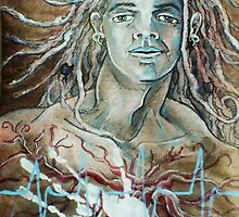 Defining Destiny, Rebirth Self-portrait (Mixed Media Drawing)- by Robert Dye