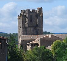 Fortified Tower at Lagrasse by Peter Reid