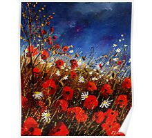 Red poppies against a stormy sky Poster