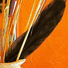 Pottery, Sticks and Feather by Susan Bergstrom