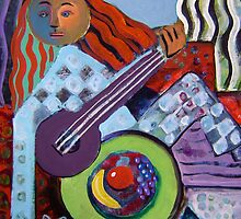 Woman, guitar and cat by Gayle Bell