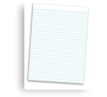 a lined ruled piece of paper Canvas Print