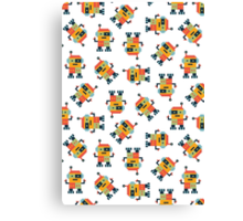 Happy Robot Pattern Canvas Print