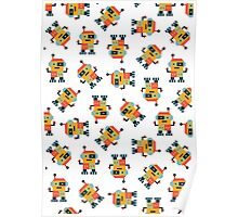 Happy Robot Pattern Poster