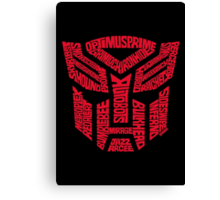 Transformers Autobots Red Canvas Print