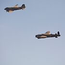 Lancaster and C47 over Lincoln by Mark Baldwyn