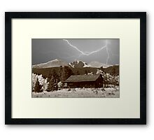 Mountain Lightning Landscape Framed Print