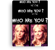 Buffy - Who are you - coloured White Canvas Print