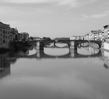 Florence, Italy   Bridge Shot as before but Black and white by Andy Williams