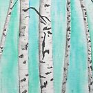 Birch Trees Painting with Turquoise Background - Woodland Landscape Abstract by cathy savels