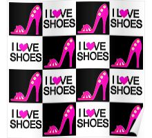 PASSIONATE PINK I LOVE SHOES DESIGN Poster