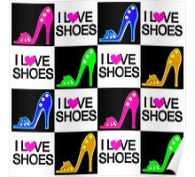COLORFUL I LOVE SHOES DESIGN Poster