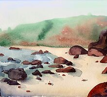 Tropical beach at sunset - nature background watercolor by OlgaBerlet