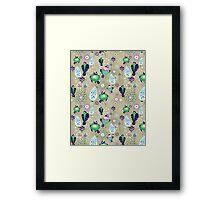 floral pattern with birds Framed Print