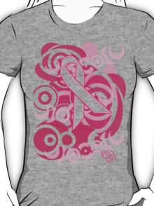 Negative Space Pink Ribbon Abstract Breast Cancer Awareness Tee T-Shirt
