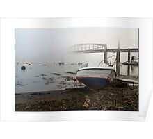 Misty River Tamar and Tamar Bridges: Plymouth UK. Poster