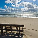 Spray Beach New Jersey - Bench overlooking a sunrise by aladdincolor