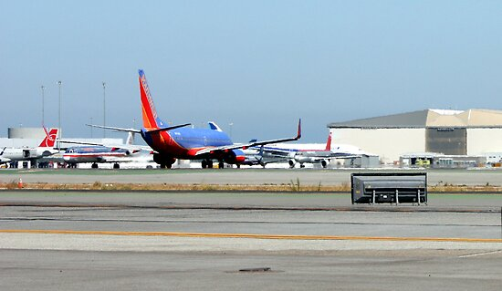 SWA Boeing 737 Lining Up For Take Off by Laurie Puglia