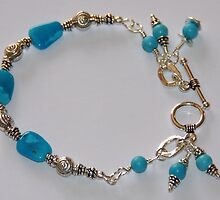 HANDMADE SLEEPING BEAUTY TURQUOISE 925 SILVER BRACELET by Pandorapearl