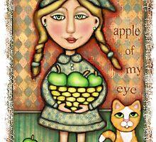 Apple Girl With Tabby Cat by Jamie Wogan Edwards