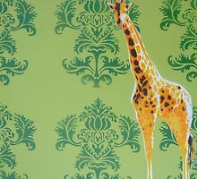Wallpaper Giraffe Green by Nicole Tattersall