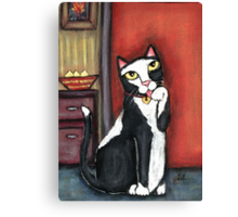 Tux Cat Cleaning Canvas Print