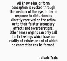 All knowledge or form conception is evoked through the medium of the eye, either in response to disturbances directly received on the retina or to their fainter secondary effects and reverberations.  by Quotr