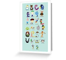 Animated characters abc Greeting Card