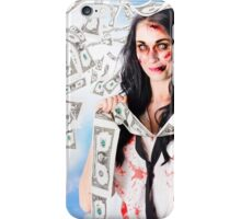 Zombie person with falling 1 dollar US bank notes iPhone Case/Skin