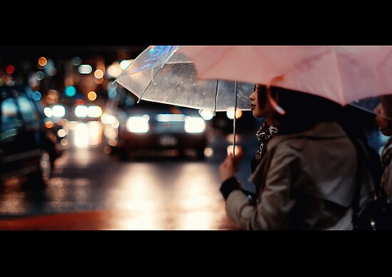 Pink Lipstick in the Rain; Shibuya, Tokyo, Japan by Alfie Goodrich