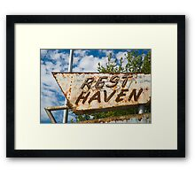 Route 66. Afton. Old Rest Haven Motel sign. (Alan Copson © 2007) Framed Print