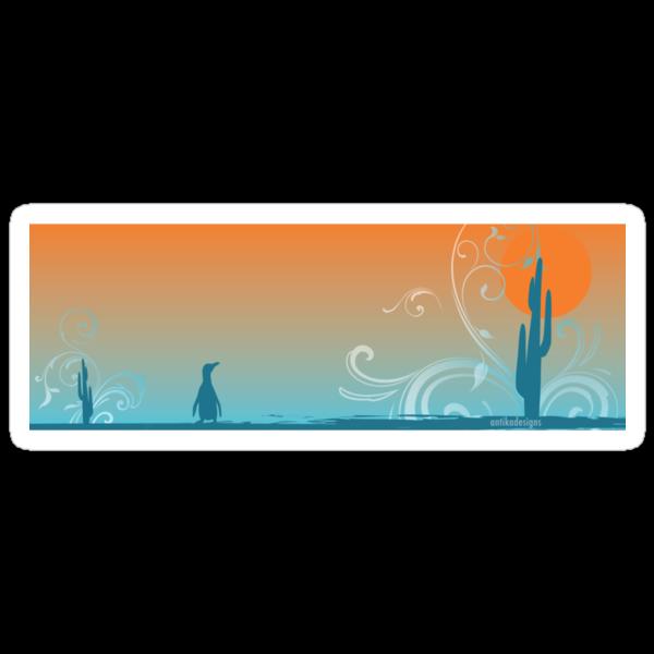 Penguin in the desert by Antikadesigns