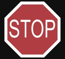 STOP, Sign, Old American, Americana, USA, America, Road Sign, Red on BLACK by TOM HILL - Designer