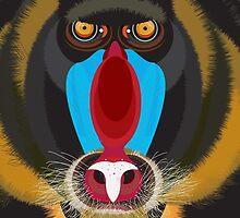 Mandrill (Monkey) Face Illustration by FUNCTIONALFOX