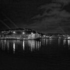 Ancona harbour at night. mono. by Colin Metcalf