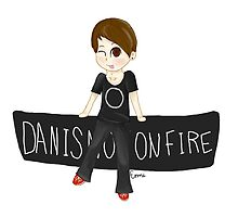 Danisnotonfire sitting on logo by ThoughtPlus
