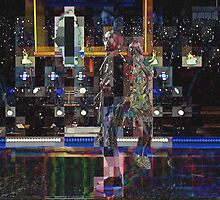 SUPERBOWL halftime 2015, Lenny Kravitz ART, flipped photo abstract by ackelly4