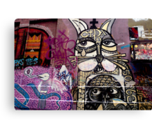 Cat and Bird Graffiti, Melbourne CBD Canvas Print