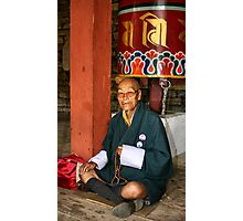 Old Man at Prayer, Thimpu, Bhutan, Eastern Himalaya  Photographic Print