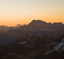 sunset over dolomite alps by peterwey